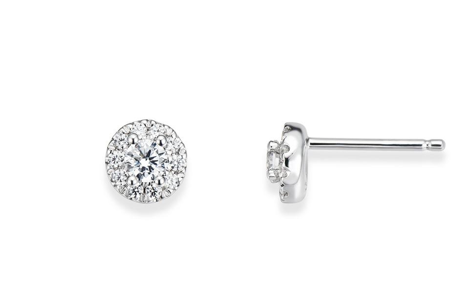 Puces d'oreilles or blanc et diamants collection confidence