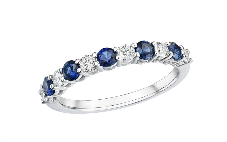 Bague Tollet saphirs bleu, diamants, or blanc