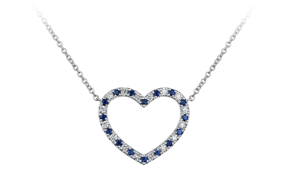 pendentif d'or blanc serti de diamants (0, 24 carat) et saphirs bleus (0,27 carat), collection Tollet