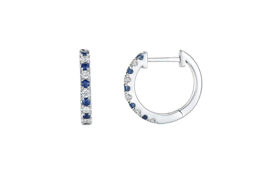 Créoles d'or blanc 18 carats alternant saphirs et diamants, collection Tollet