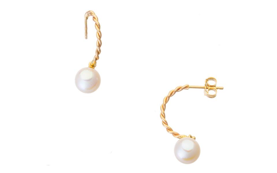 Créoles d'or blanc 18 carats et saphir collection Tollet