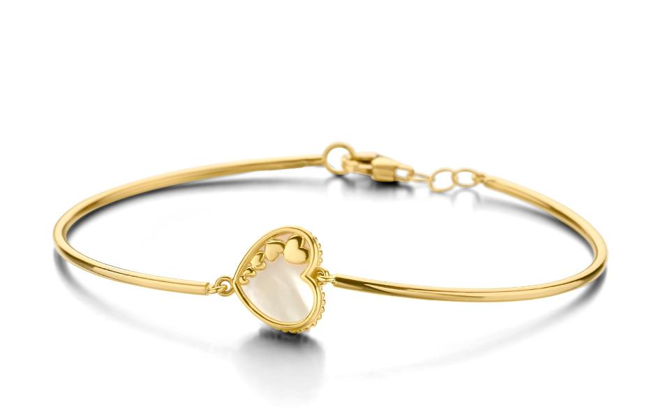 Bracelet lien d'or jaune 18 carats paré d'un cœur en nacre collection Tollet